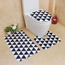 Flannel Printing Thickening and Warm 3D Geometric printing Bathroom Slip-proof Toilet Cushion Three-piece Set bathroomcarpet mat tower pinted three piece toilet mat set
