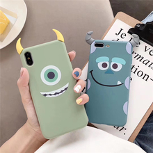 Soft Candy Color Case for iPhone 7 Cases Sulley Mike Angle Cover X XS 11 Pro MAX XR 8 Plus 6 6S Silicone
