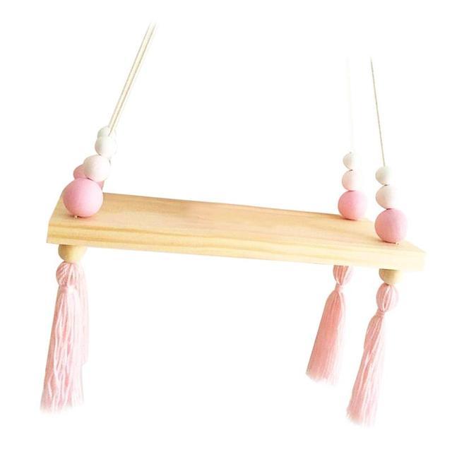 2019 New Hot Nordic Style Kids Baby Room Wooden Beads Tassel Wall Shelf Room Storage Organization swing shelf Wall Hanging Decor
