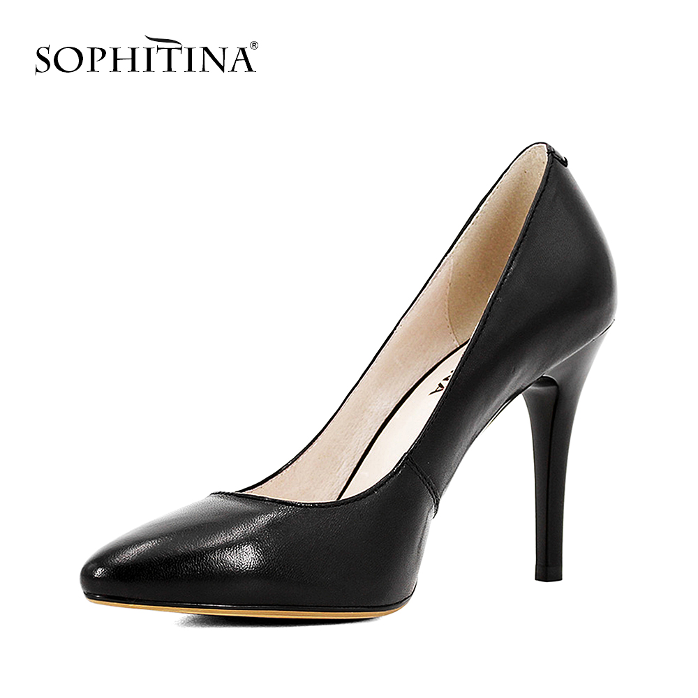 SOPHITINA 2018 Handgemachte Schwarze Leder Lady Pumps Schaffell Super - Damenschuhe - Foto 2