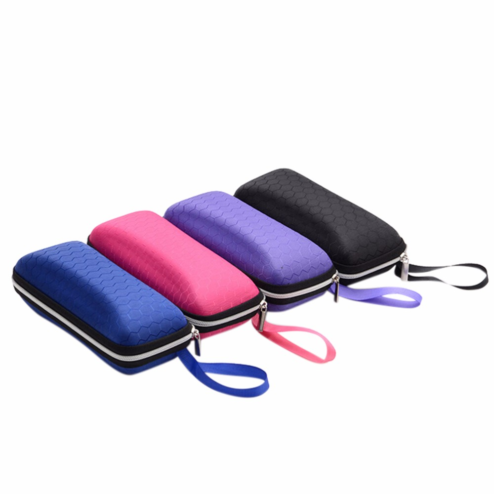 High Quality Men Women Portable sunglasses case Holder glasses box with lanyard zipper eyeglass cover Protector Box