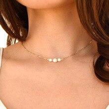 Изящное ожерелье-чокер с искусственным жемчугом, свадебные ювелирные изделия для невесты, женское серебряное Золотое чокер, Женское Ожерелье для вечеринки