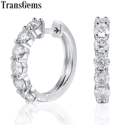 TransGems Sterling Silber 1,8 ctw 3,5mm H Farbe Moissanite Simulierte Diamant hoop Ohrringe für Frauen Edlen Schmuck