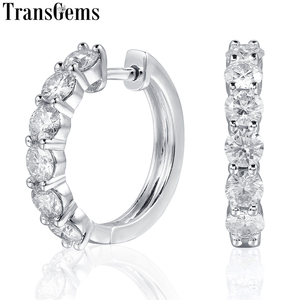 Image 1 - TransGems Sterling Silver 1.8ctw 3.5mm H Color Moissanite Simulated Diamond hoop Earrings for Women Fine Jewelry