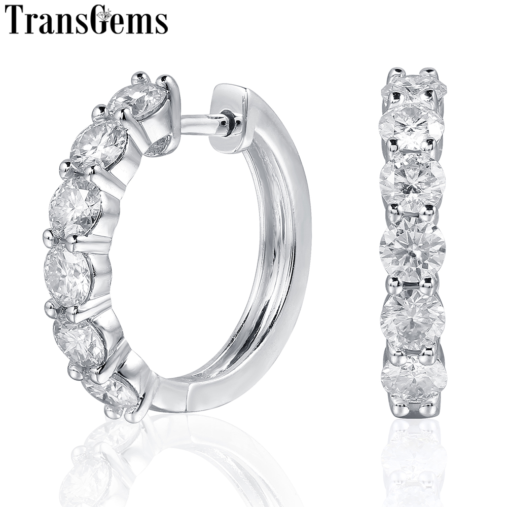 TransGems Sterling Silver 1.8ctw 3.5mm H Color Moissanite Simulated Diamond hoop Earrings for Women Fine Jewelry