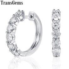 Transgems Sterling Zilveren 1.8ctw 3.5 Mm H Kleur Moissanite Gesimuleerde Diamond Hoop Oorbellen Voor Vrouwen Fijne Sieraden