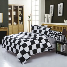 Classical black and  white cotton Bedding set  home textile bed linen Duvet cover Bedclothes ,Twin/Full/Queen/King Size