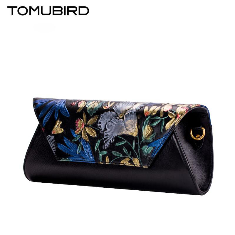 243b66a1b TOMUBIRD new Superior couro do couro Embossing famoso saco de mulheres  marca de moda genuína bolsas de couro saco Envelope saco de Embreagem