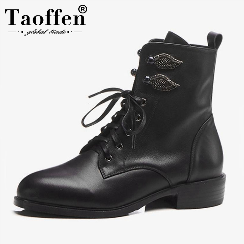 TAOFFEN Size 34-43 Women Flats Boots Real Leather Woman Shoes