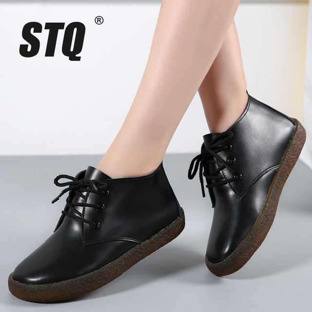 STQ 2019 Winter women ankle boots flat snow boots shoes women leather motocycle boots ladies high rain rubber boots footwear 907