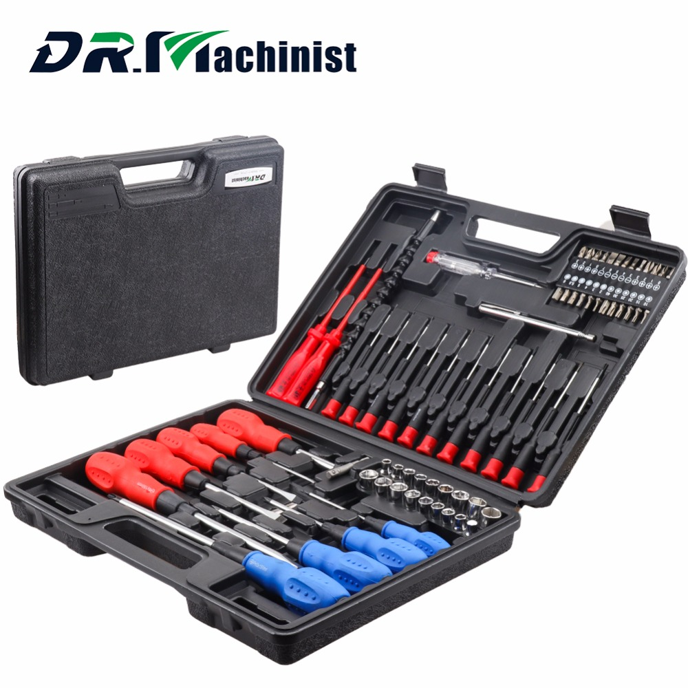 DR.Machinist 71Pcs Screwdriver Sockets Drill Bits Hand Tool Set General Household Kit Magnetic Electric Tool workpro 18 in 1 magnetic screwdriver tool set hand tool kit with rack workshop master