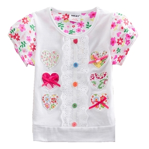 Retail NEAT 2016 New Baby girl clothes girls T-shirts summer short sleeve lace kids clothes wear 1-6Y fashion T Shirts S2152