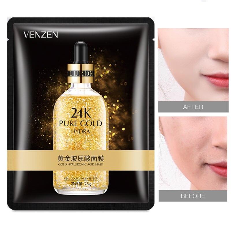 VENZEN 24k Gold Hyaluronic Acid Face Masks Anti-Aging Moisturizing Oil-control Facial Mask Sik Care Cosmetics
