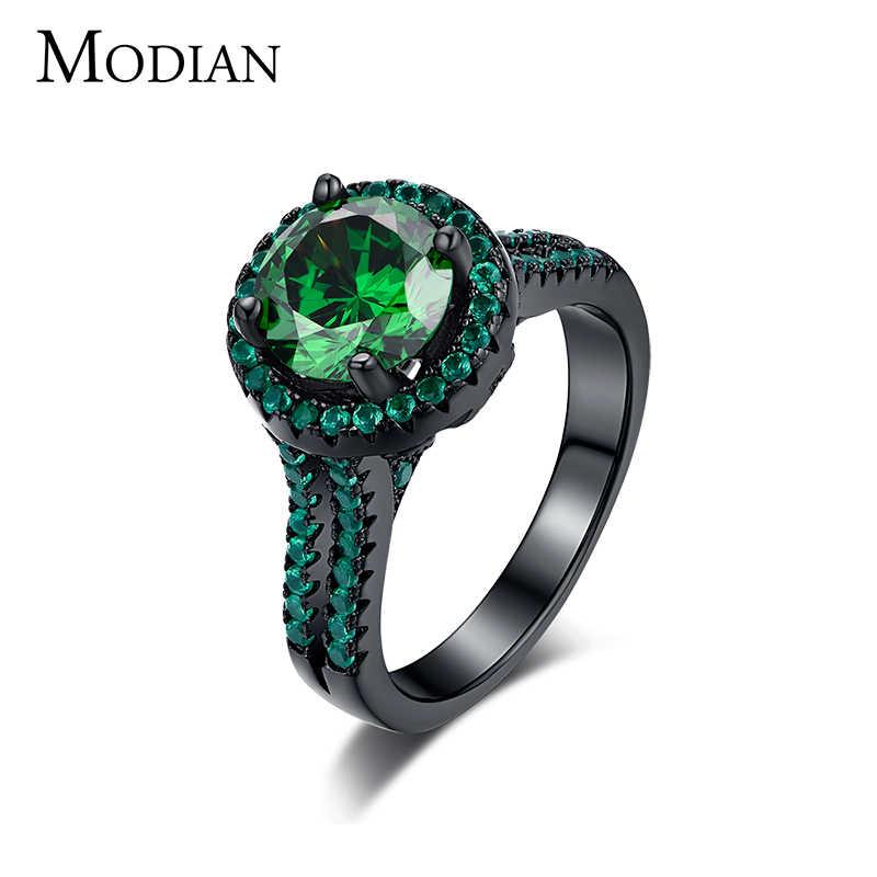 R & J 2016 คุณภาพสูง 14KT Black Gold Filled แหวนแฟชั่นเครื่องประดับสีดำสีเขียว 5A Zircon คริสตัลแหวนสำหรับของขวัญผู้หญิง
