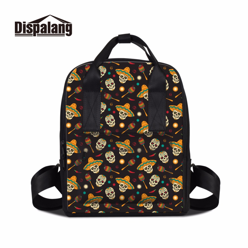 Dispalang Latest Design Skull Backpack for Teen Girls Unique Women Bookbag Cool School Bag for College Traveling Bag Children
