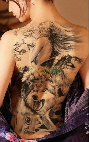 Us 424 Wodoodporna Tymczasowa Naklejka Tatuaż Wilk I Dziewczyna Duże Całe Plecach Tatuaż Transferu Wody Fałszywe Flash Tatuaż Dla Kobiet Man W