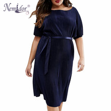 Nemidor Women Casual O-neck Striped Midi Plus Size Summer Dress Navy 8XL Short Sleeve Vintage Party Belted A-line Dress