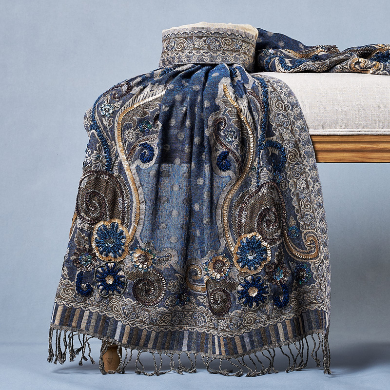 Autumn Winter Warm Female   Scarf     Wraps   Wool Mantilla Large Size Shawl Pashmina 190*70cm Handmade Beads Tippet Stole Women Gift