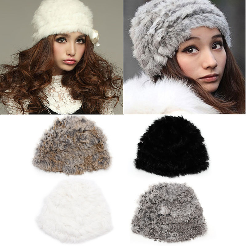 2016 Russian Women Rabbit Fur Knitted Cap Women Winter Warm Beanie Hat russian phrase book