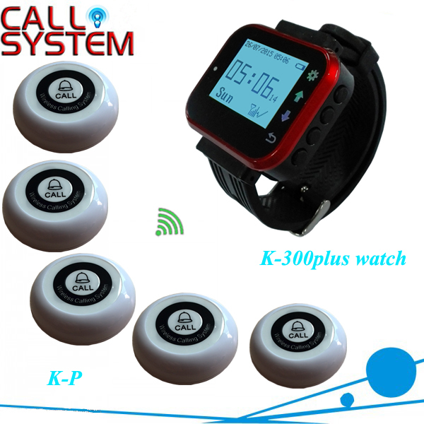Горячая распродажа черный систему вызова обслуживанием официанта часы обслуживания пейджера ( 1 Receiver 5 кнопки )