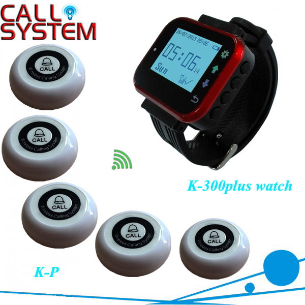 Hot Sale Black Waiter Service Calling System Watch Pager Service System ( 1 Receiver 5 Button) service call bell pager system 4pcs of wrist watch receiver and 20pcs table buzzer button with single key