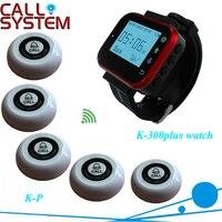 Hot Sale Preto Relógio Pager Serviço de Garçom Sistema de Chamada de Serviço Do Sistema (1 Receptor 5 Botão)