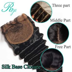 Image 5 - Riya Tóc Brazil Sâu Sóng Silk Cơ Sở Đóng Cửa Lụa Hàng Đầu Đóng Cửa Với Mái Tóc Bé Knots Ẩn Trung Phần Tóc Con Người ren Đóng Cửa
