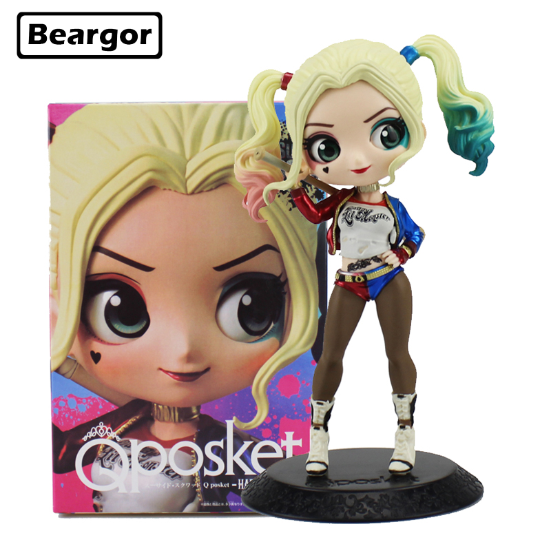6inch Cute Suicide Squad Harley Quinn Harleen Big Eye Cake Decor Qposket Boxed 15cm PVC Anime Action Figure Model Doll Toys Gift цена