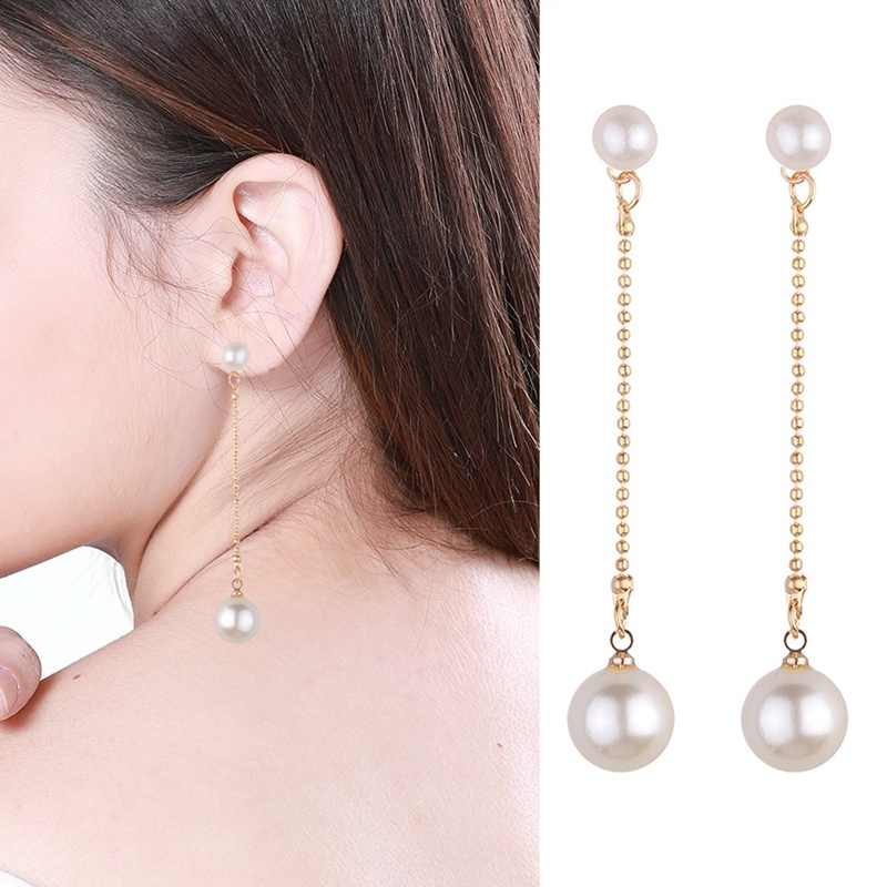 Fashion Gold-color Simulated Pearl Pendant Long Chain 2 Beads Long Earrings Bridal Wedding Pearl Jewelry Drop Earrings