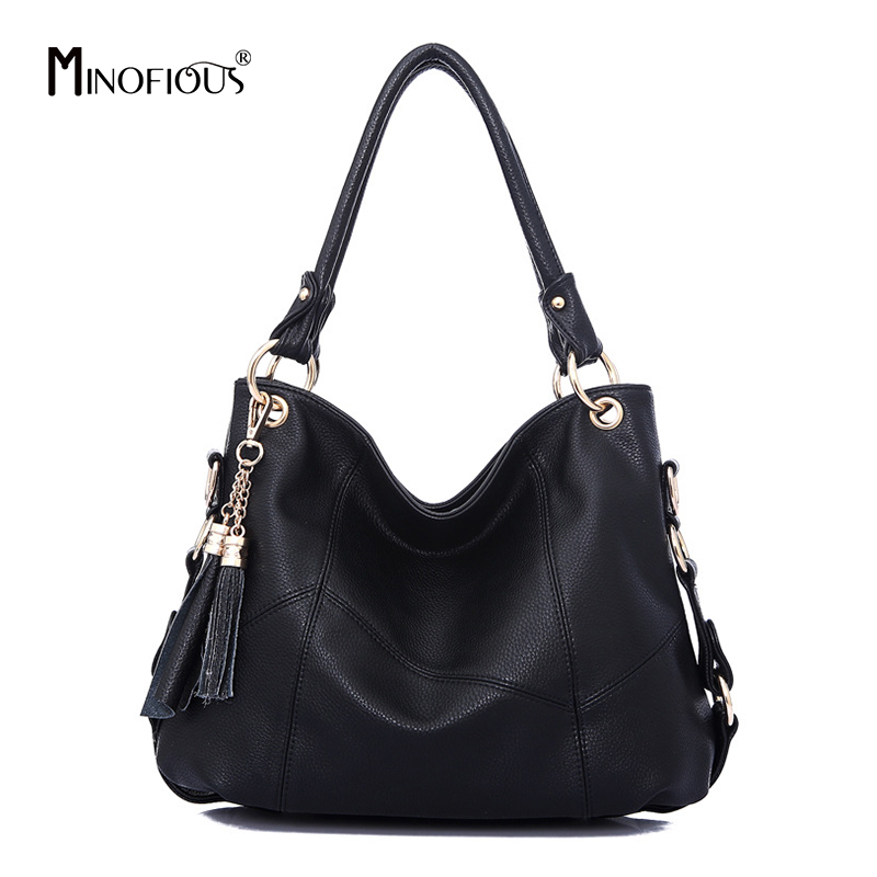 MINOFIOUS Female Genuine Leather Handbags Fashion Tassel Handbag Luxury Tote Bag Designer Women Elegant Shoulder Bags bolsas luxury handbags fashion tassel satchel bag women bags designer brand famous tote bag female pu leather rivet shoulder bag bolsas