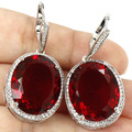 Big Gemstone 22x18mm Blood Ruby, CZ SheCrown Engagement Created   Silver Earrings 40x20mm