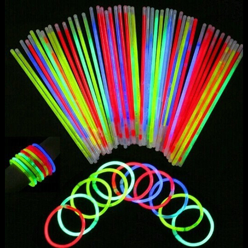 50 Pcs Glow Sticks Bracelets Necklaces Fluorescent Neon Party Wedding Decal