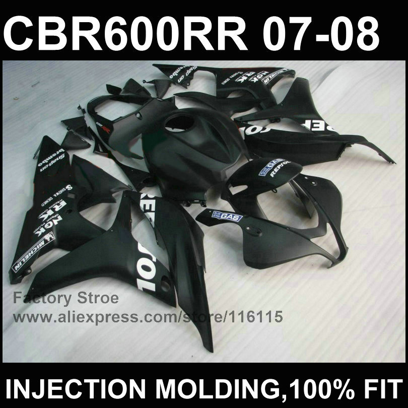 100%Black Injection molding motobike parts for HONDA F5 CBR 600 RR fairings 2007 2008 OEM bodywork cbr600rr 07 08