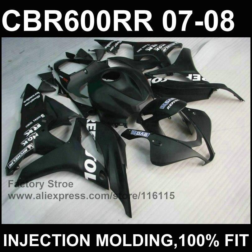 100%Black Injection molding motobike parts for HONDA F5 CBR 600 RR fairings 2007 2008 OEM bodywork cbr600rr 07 08 unpainted white injection molding bodywork fairing for honda vfr 1200 2012 [ck1051]