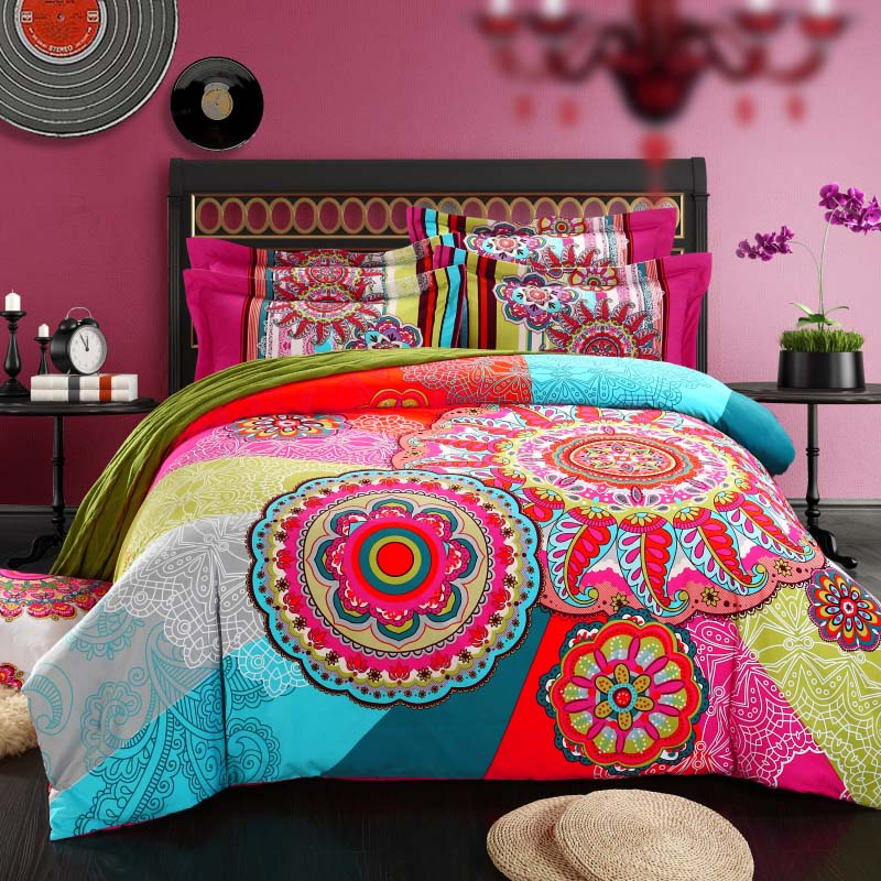 Brushed Cotton bohemian bedding sets 4pcs queen king duvet cover set  bedlinen bedclothes beautiful bedding girl