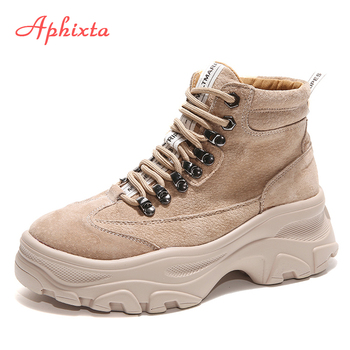 Aphixta Platform Ankle Boots Shoes Woman Cow Suede Equestrian Winter Thick Sole Lace-up Women Shoes Waterproof Martin Boot Обувь