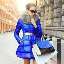 Prase winter jacket women winter swandown medium-long skirt style down coat female down coat outerwear White Goose Down parka