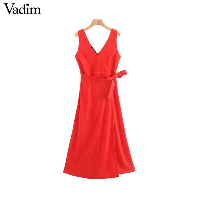 Vadim feminino elegante vermelho maxi vestido com decote em v sem mangas laço faixas de volta zíper feminino vestido de festa chique vestidos longos qc463