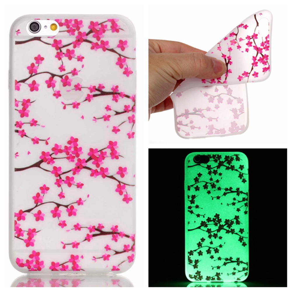 Fashion Luminous <font><b>Case</b></font> Slim Fluorescence Soft <font><b>TPU</b></font> Phone Covers for Apple <font><b>iPhone</b></font> 6 6S 4.7&#8243; Glow in the Dark Silicone Back Skin