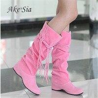 New Women Boots Autumn Winter Fringe Half Knee High Boots Ladies Tassel Fleece Shoes Woman Botas