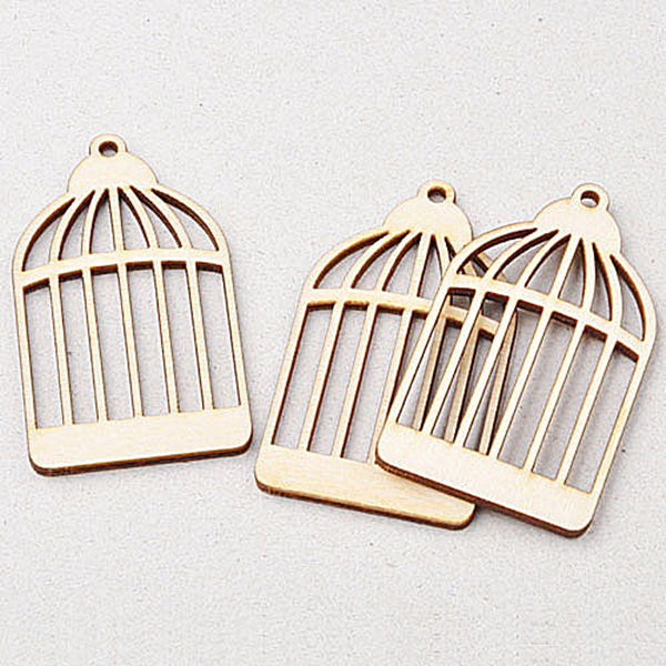 New Hot 25pcs MDF Wood birdcage Shape Cutout Wooden Scrapbooking  Embellishment Art Craft Gift Tags Making ca2ec2526c18