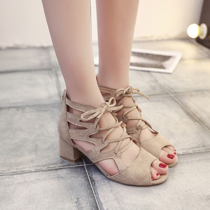 Womens Sandals Summer 2018 Sexy Women Pumps Open Toe Lace Up Heels Sandals Woman Sandals Thick With Women Shoes Women High Heels xiaying smile woman pumps shoes women spring autumn wedges heels british style classics round toe lace up thick sole women shoes
