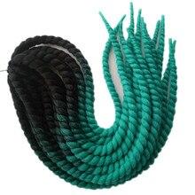 3 упаковки 22 дюйма Pervado волосы надувные Гавана твист вязание крючком косы волос 120 г черный зеленый синтетический Омбре плетение волос для наращивания