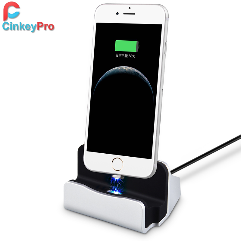 Magnetic Wireless Design USB Charger Dock Cable For iPhone 5 6 7 Plus Universal Mobile Phone Charging Station CinkeyPro