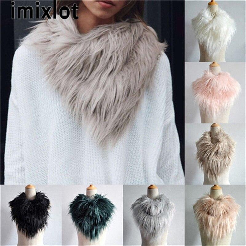 IMIXLOT New Lady Fox Fur Collar Warmer Women Scarf Shawl Wrap Neck Winter Long Accessories For Female