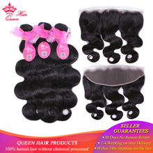 100% Brazilian Human Hair Body Wave 3 Bundles Weaves With Lace Frontal Remy weaving Queen Products Free Shipping