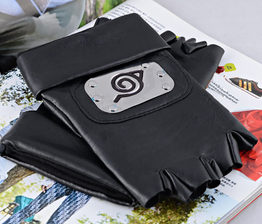 Anime Naruto Kakashi konoha symbol half finger leather gloves winter warm handschoenen Christmas Gifts in Men 39 s Gloves from Apparel Accessories