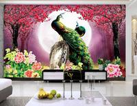customize 3d photo wall murals Peach peacock 3d wallpaper living room 3d wallpapers for wall living room