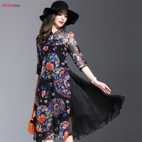 HANZANGL New Arrival Brand Women Dress Spring Summer High Quality Vintage Floral Print Elegant Two
