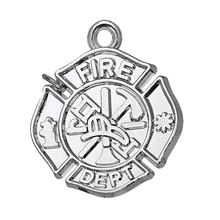 my shape Polished Silver Plated Fire Dept Firefighter Charms Pendants Wholesale 10pcs